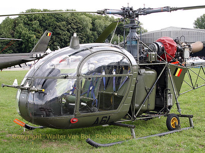"This - soon to be retired - Belgian Army Alouette II visited Beauvechain for the celebration of ""40 years SF-260 Marchetti and 300000 hrs on the type""."