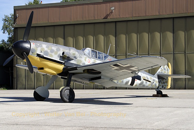 """This aircraft, a Hispano HA-1112-M1L Buchon, was registered C.4K-134 with the Spanish Air Force, but is modified to look like a Bf-109G-6/R6 (12, cn 194) and is now preserved by JG71 """"Richthofen"""" at Wittmundshafen."""
