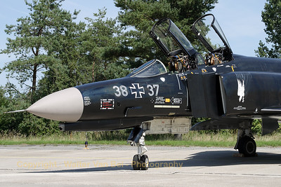 "Close-up of the beauty (38+37, cn 4716) from Neuburg (special paint Phantom Phlyout JG74), from now on at Wittmundhafen, posing very proudly for the camera during the spottersday for the celebration of ""50 years Phantom II"" & ""35 years Phantom in Germany""."