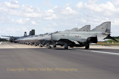 "Most impressive line-up - on Wittmundhafen's runway - of 11 F-4F Phantom IIs (reg:38+61, 38+69, 38+29, 38+16, 38+01, 38+57, 38+00, 37+01, 38+42, 38+24 and 38+68), a Hungarian Air Force An-26 (reg:603), a German Air Force C-160D (reg:50+71) and a German Navy Breguet 1150 Elint Atlantic (reg:61+03), for the celebration of 50 years JG71 ""Richthofen""."