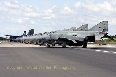 "Most impressive line-up - on Wittmundhafen's runway - of 11 F-4F Phantom IIs (reg:38+61, 38+69, 38+29, 38+16, 38+01, 38+57, 38+00, 37+01, 38+42, 38+24 and 38+68), a Hungarian Air Force An-26 (reg:603), a German Air Force C-160D (reg:50+71) and a German Navy Breguet 1150 Elint Atlantic (reg:61+03), for the celebration of 50 years JG71 ""Richthofen""."