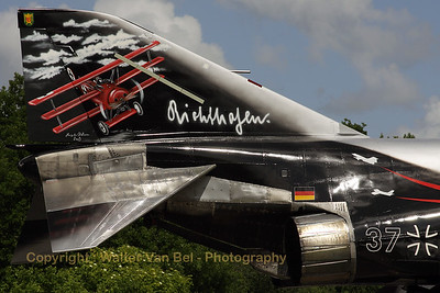 "Tail close-up of the F-4F Phantom II (37+03, cn 4342) from JG71 with special c/s to celebrate 50 years of JG71 ""Richthofen""."
