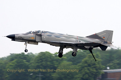 "German Air Force F-4F Phantom II (38+33, cn4429) in ""Norm 81"" retro c/s, performing a low phly-by with hook down, prior to her phinal landing."