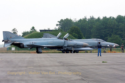 "Number ""5"" in the phinal line-up. A GAF F-4F Phantom II (38+64, cn4782), during the spottersday at Jever, at the end of her ""Phinal mission""."