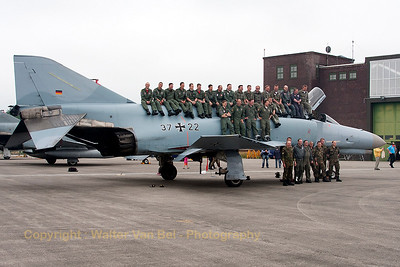 """The JG71 """"Richthofen"""" crews on their F-4F Phantom II (37+22), after its phinal landing, at Jever today."""