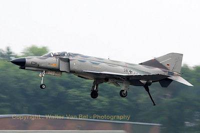 "German Air Force F-4F Phantom II (38+33, cn4704) in ""Norm 81"" retro c/s, performing a low phly-by with hook down, prior to her phinal landing."