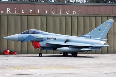 "JG74 Eurofighter (30+83, cn GS063) at Wittmund (with the Richthofen ""R"" inclusive, under the cockpit), after completion of its post-flight checks."