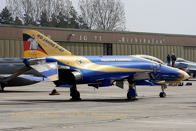 JG71's celebration Phantom, proudly posing for the camera, in her blue & gold c/s, to celebrate 40 years of F-4F Phantom II operations within the German Air Force.