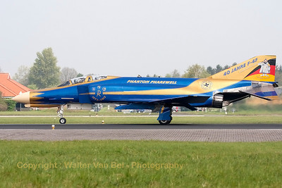 JG71-Richthofen's celebration F-4F Phantom II is seen here during its landing at Wittmund, after the photoflight, wearing her special c/s for 40 years F-4F Phantom II operations within the German Air Force.