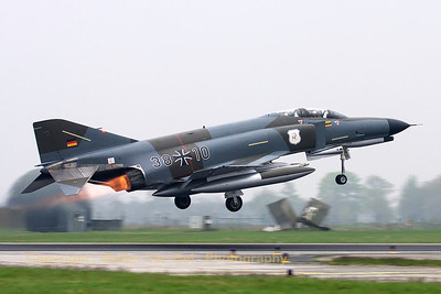 This F-4F Phantom II (38+10, cn 4635) in retro c/s (Norm 72) is seen here departing with full A/B, under adverse weather conditions, for a photoflight with 37+01 (in her new c/s for celebrating 40 years of F-4F Phantom II in the German Air Force).
