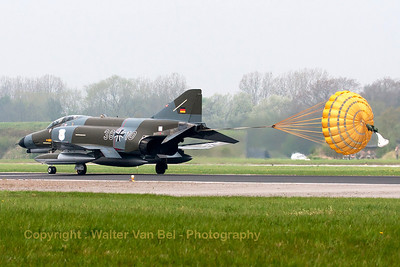 This F-4F Phantom II (38+10, cn 4635) in retro c/s (Norm 72) is seen here slowing down after landing on Wittmund's RWY26, using the brake-chute, under adverse weather conditions.