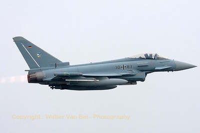 JG74 Eurofighter (30+83, cn GS063) is seen here departing Wittmund with full A/B, under adverse weather conditions, for a photoflight with 37+01 (in her new c/s for celebrating 40 years of F-4F Phantom II in the German Air Force) and 38+10 (in retro c/s).