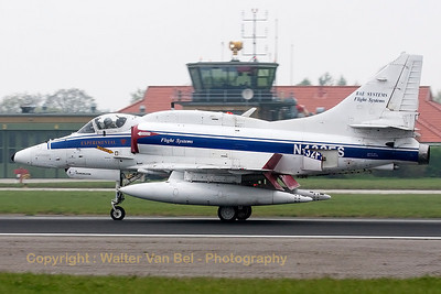 "This BAE Systems Flight Systems A-4N Skyhawk (N432FS, cn14462, ex-USN 159542) is seen slowing down - with airbrakes extended and spoilers wide open - at runway26, after another mission in support of JG71 at Wittmundhafen during the - very foggy - morning of the ""71 Lucky Spotters' day"" for celebrating ""40 years of Phantom operations in the German Air Force""."
