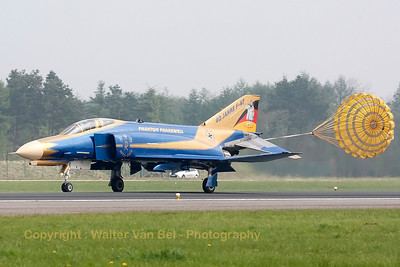 JG71-Richthofen's celebration F-4F Phantom II is seen here landing and using the brake-chute at Wittmund, after the photoflight. Special c/s for 40 years F-4F Phantom II operations within the German Air Force.