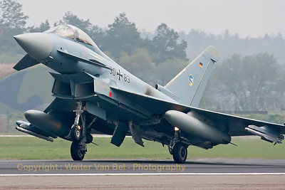 "JG74 Eurofighter (30+83, cn GS063) landing at Wittmund (with the Richthofen ""R"" inclusive, visible under the cockpit)."