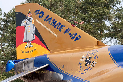 "Tail close-up of JG71's celebration Phantom: ""First in Last out"" around the registration & Spooky stating ""Ich melde mich ab"" as special text on the colorful tail (40 years F-4F Phantom II operations within the German Air Force)."