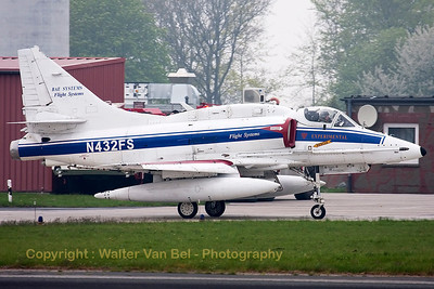 "This BAE Systems Flight Systems A-4N Skyhawk (N432FS, cn14462, ex-USN 159542) is seen returning to its hangar after another mission in support of JG71 at Wittmund during the - very foggy - morning of the ""71 Lucky Spotters' day"" for celebrating ""40 years of Phantom operations in the German Air Force""."