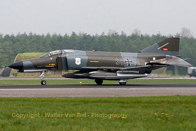 This F-4F Phantom II (38+10, cn 4635) in retro c/s (Norm 72) is seen here slowing down after landing on Wittmund's RWY26, under adverse weather conditions.