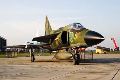"Saab AJSH37 Viggen from the Swedish Air Force, posing proudly after its final ""full stop"" at the Aviodrome airport of Lelystad. Now that this beauty is retired, it will spend the rest of its life in the museum."