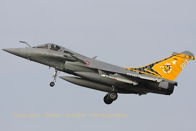 New Tiger c/s for the NTM2012 on this French Air Force Rafale C from EC1/7, visiting Cambrai-Epinoy for the fly-out ceremony of EC1/12.