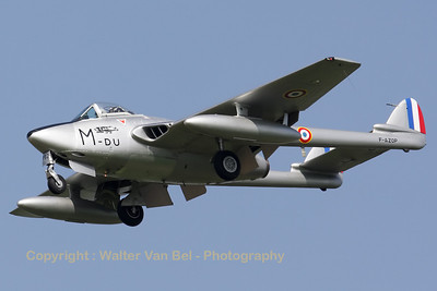 This De Havilland DH-100 Vampire (ex-Swiss Air Force J-1192), now in French Air Force c/s, was visiting Cambrai Air Base during the arrival day for the fly-out ceremony of EC1/12, and is seen here on final for landing on RWY28.