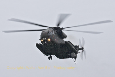 "A CH-53GS (84+30) - from ""Mittleres Transporthubschrauberregiment 15"" (MTHR15) - arrives over Geilenkirchen Nato Air Base, during the arrival day for the celebration of 30 years AWACS. The weather conditions were just awful!"