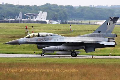 Greece Air Force F-16D (149, cn=2Z-6) taxiing to the apron after arrival at Geilenkirchen Nato Air Base, for the celebration of 30 years AWACS.