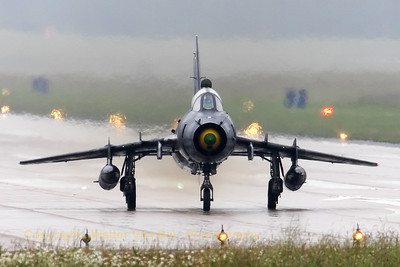 A Polish Air Force Su-22UM-3K Fitter, backtracking on the runway at Geilenkirchen - in awful weather conditions - during the arrival day for the celebrations of 30 years AWACS.