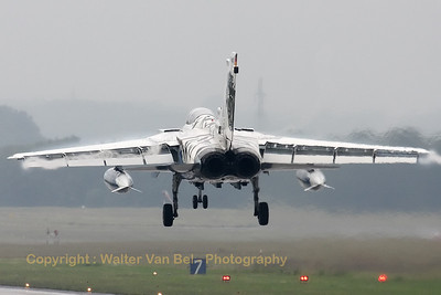 "The Artic Tiger 2012 - a Tornado IDS from AG51 (45+85, cn708-GS226-4285) - arrives at Geilenkirchen Nato Air Base under adverse weather conditions, on the arrival day for the celebrations of ""30 years AWACS""."