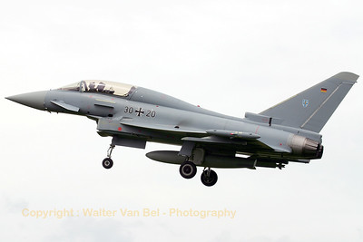 Eurofighter EF2000(T) from JG73 on final to RWY27 at Geilenkirchen AFB.