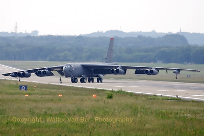 "The BUFF and a personal ""follow me"" to direct the aircraft towards its parking position at Geilenkirchen. The span of the B-52H was just too large to manouvre safely over the runway and taxiways, hence some personal assistance to check the clearance of the wing-tip wheels!"