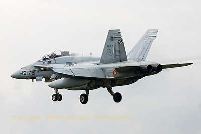 Not the best weather for arriving at Geilenkirchen... This Spanish Air Force EF-18B (CE15-6_15-75) from Ala15 produces nice condensation trails however!
