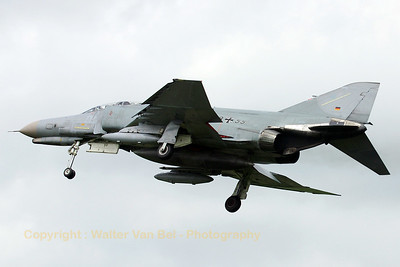 German Air Force F-4F Phantom II on approach to Geilenkirchen AFB. The grey c/s is very effective in European weather ;-)