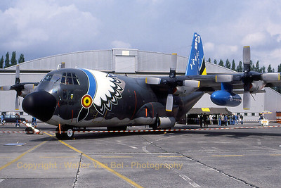 "This C-130H (CH-05; cn 382-4470) of the Belgian Air Force, at that time still in standard NATO camouflage c/s, was given a more colourful paintjob to celebrate ""20 Years of C-130H"" in Belgium. Scan from slide."