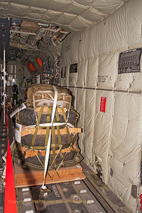 Looking forward (air-drop cargo) in the cargo-bay of the Royal Danish Air Force C-130J (B-537, cn382-5537) from ESK721.