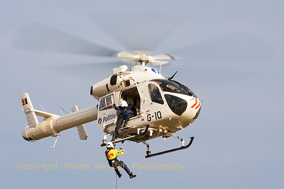 Nice rescue-demo by this MD900 Explorer (G-10, cn900-00034) from the Federal Police, during the Open Door at Melsbroek (EBMB).