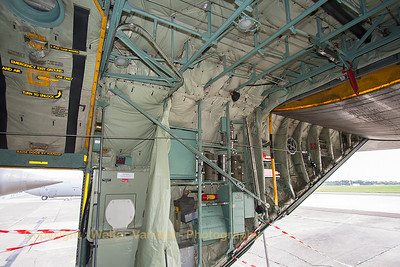 Looking aft in the cargo-bay of the Belgian Air Force C-130H (CH-13, cn382-4047).