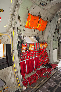 Looking aft (back-row seating) in the cargo-bay of the Royal Danish Air Force C-130J (B-537, cn382-5537) from ESK721.