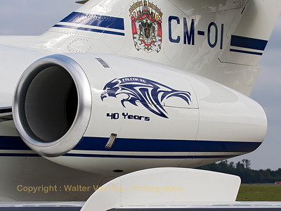 "Also the Belgian Air Force Falcon 20 participated in the celebrations. The celebration logo for ""40 years of operation"" can be seen here on its engine (Garret TFE 731-5BR-2C). Two Falcon 20's are in use with the Belgian Air Force since 1973. In 2004, both aircraft went through an extensive modernisation exercise."