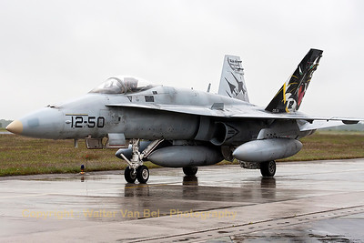 This Spanish Air Force EF-18M Hornet (C15-34/12-50/cn638/A530) from ALA12 is seen - on a flooded taxi-track - on arrival at Wittmund during the very wet spottersday for the Phantom Pharewell.