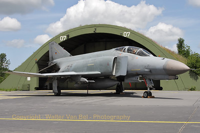 German Air Force F-4F Phantom II (38+10, cn4635), proudly posing in front of its shelter, during the 2012-spottersday at Wittmund.
