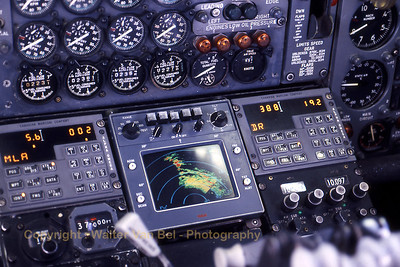 View on part of the instrument panel of TEA's B707-328B (OO-TYC), during our flight from Brussels to Alicante. Scan from slide.