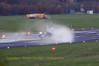 The very last touch-down (November 11th, 2008) of a Phantom at Soesterberg Air Base: a Hellenic Air Force F-4E (01504; cn4455) is seen here popping its braking-chute on a very wet runway...