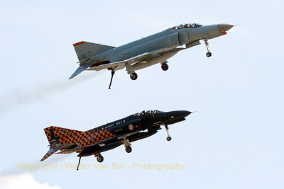 """The two remaining F-4F Phantom II's - """"37+15"""" & """"38+13"""" from WTD61 - pass in close formation with gear and tailhook down, during the Phly-out ceremony at Manching."""