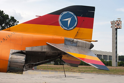 """Tail close-up of """"37+16"""". I was very glad to see that this beautiful F-4F Phantom II from WTD61 - still in its special c/s for """"50 Jahre Flugerprobung"""" - was still preserved in good condition at Manching."""