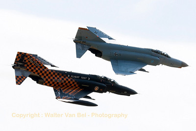 The two remaining F-4F Phantom II's - from WTD61 - pass in close formation, during the Phly-out ceremony at Manching.