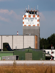 Manching's WTD61 Tower (shot through the fence), at the start of a very hot day.