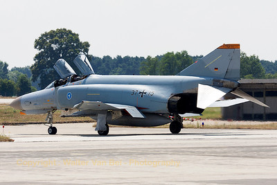 "This F-4F Phantom II (37+15, cn4385), from WTD61 at Manching, is seen taxiing out to the active runway to perform her ""official"" last phlight today (July 24th, 2013)."