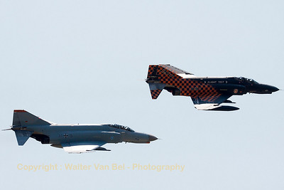 "The two remaining F-4F Phantom II's - ""37+15"" & ""38+13"" from WTD61 - pass in close formation, during the Phly-out ceremony at Manching."