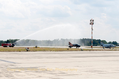 Both WTD61 Phantom's (38+13 & 37+15) get a water-salute - after their phinal phlight - by the Manching Fire Brigade.